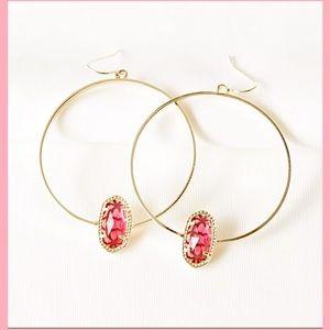 KENDRA SCOTT Gold Hoop Earrings in Berry  Glass